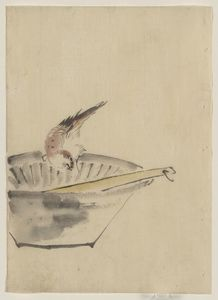 Katsushika Hokusai - A Bird Perched On The Edge Of A Bowl, With Head Cocked, Looking At A Utensil In The Bowl