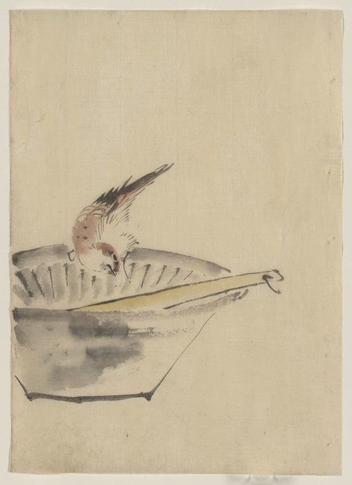 A Bird Perched On The Edge Of A Bowl, With Head Cocked, Looking At A Utensil In The Bowl by Katsushika Hokusai (1760-1849, Japan)