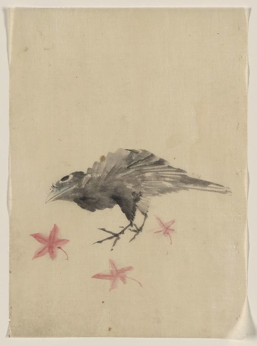 A Bird, Possibly Crow Or Raven, Facing Left by Katsushika Hokusai (1760-1849, Japan)