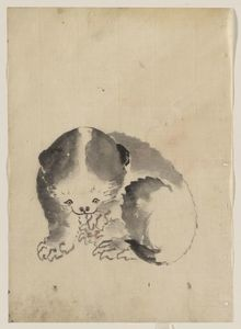 Katsushika Hoki - A Cat Cleaning Its Claws