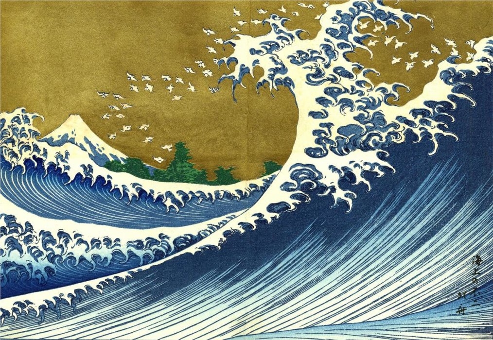 A Colored Version Of The Big Wave by Katsushika Hokusai (1760-1849, Japan) | Museum Quality Reproductions | WahooArt.com