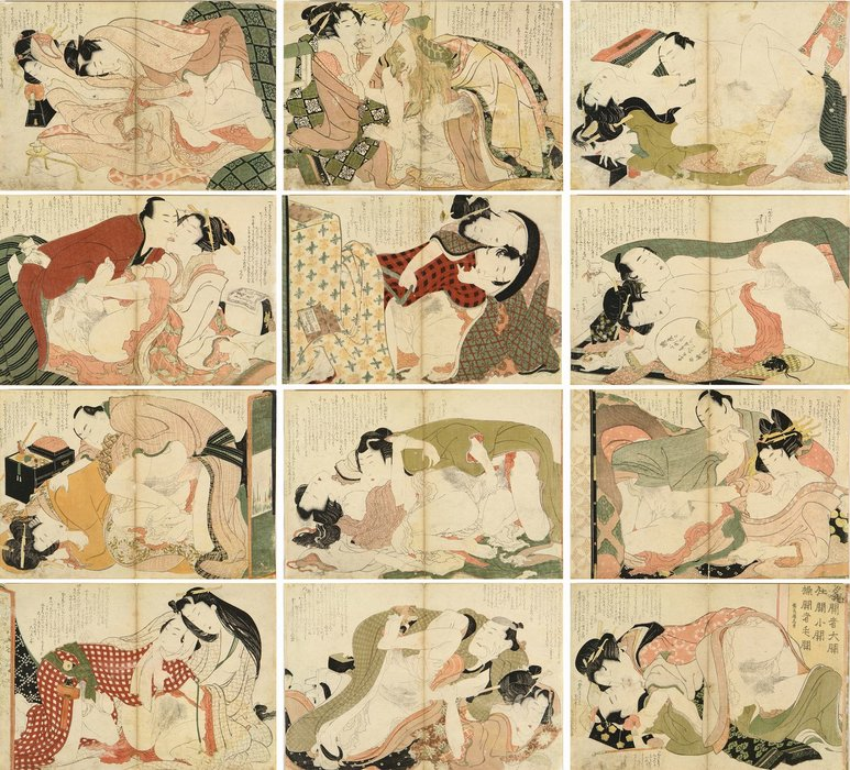 A Complete Set Of The Erotic Series by Katsushika Hokusai (1760-1849, Japan) | Famous Paintings Reproductions | WahooArt.com