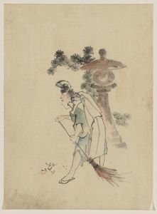 Katsushika Hokusai - A Man Sweeping Pine Needles That Have Fallen From A Tree Near A Stone Shrine