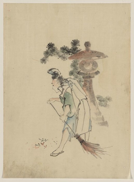 A Man Sweeping Pine Needles That Have Fallen From A Tree Near A Stone Shrine by Katsushika Hokusai (1760-1849, Japan) | Oil Painting | WahooArt.com