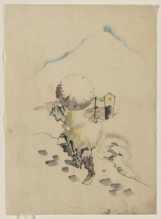 A Man, Wearing A Conical Hat, A Straw Or Feather Outer Garment by Katsushika Hokusai (1760-1849, Japan) | WahooArt.com