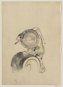 Katsushika Hokusai - A Man, Wearing A Large Conical Hat And A Straw Or Feather