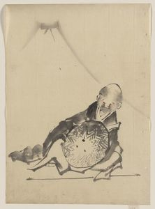 Order Painting Copy : A Monk Reclining, Holding A Large Conical Hat In Front Of Him by Katsushika Hokusai (1760-1849, Japan) | WahooArt.com