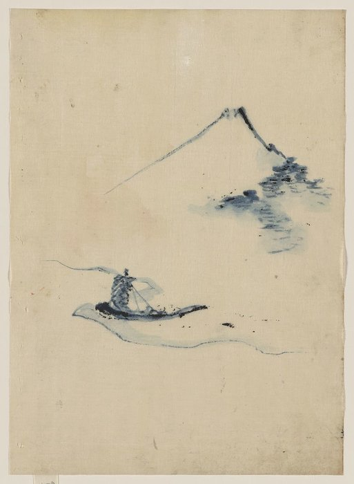 A Person In A Small Boat On A River With Mount Fuji In The Background by Katsushika Hokusai (1760-1849, Japan)