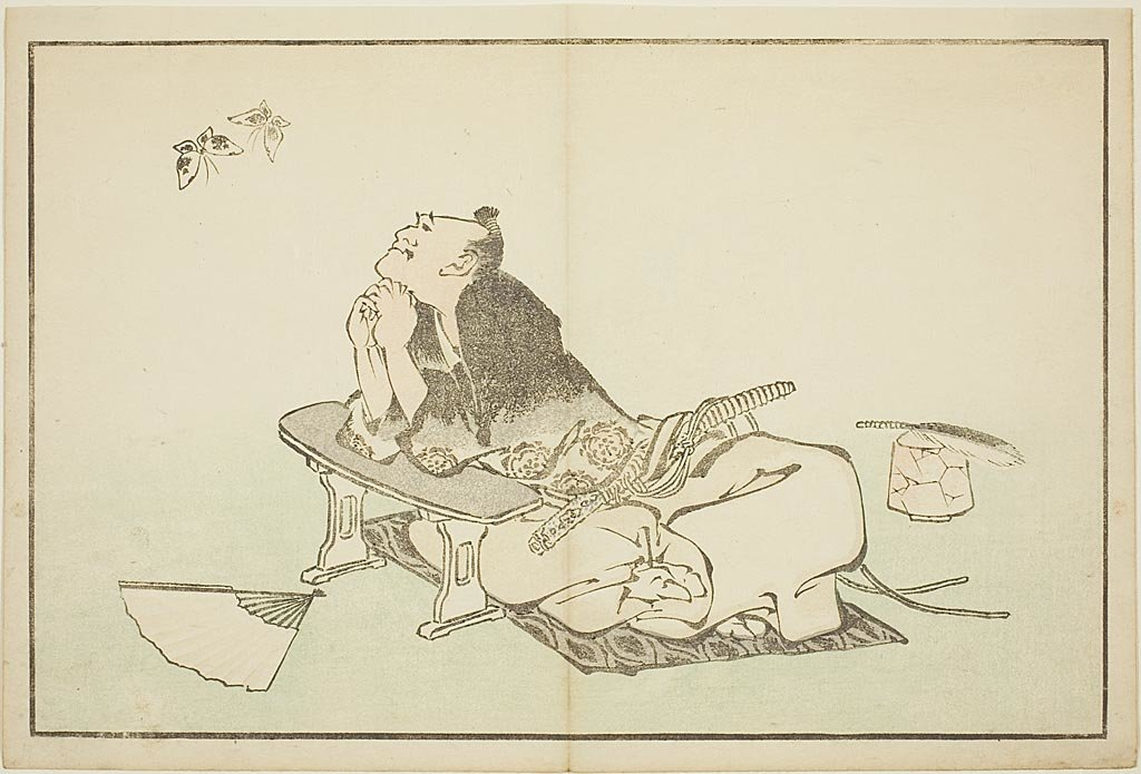 A Philosopher Watching A Pair Of Butterflies by Katsushika Hokusai (1760-1849, Japan)
