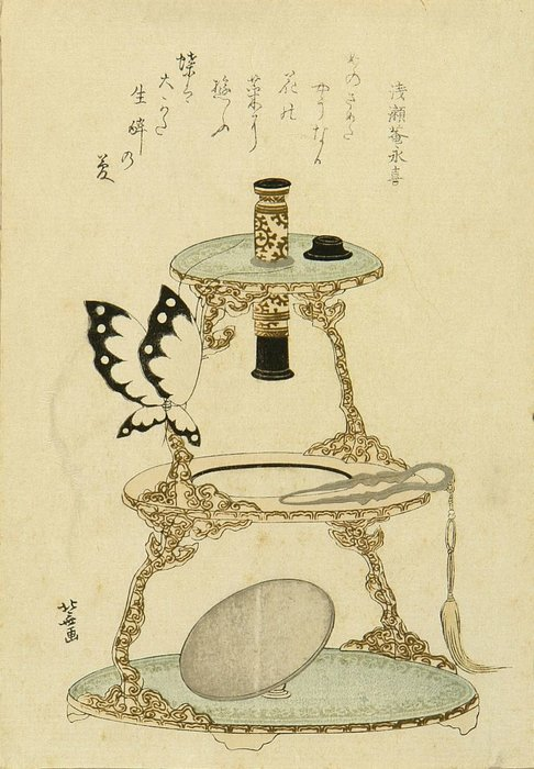 A Surimono Of A Microscope And A Butterfly Perched On by Katsushika Hokusai (1760-1849, Japan)