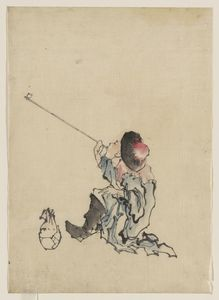 Katsushika Hokusai - A Traveler, Seated, Wearing A Robe, Boots, And Rounded-top