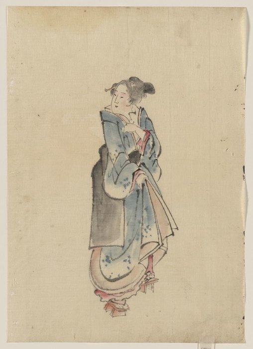 A Woman Walking To The Right by Katsushika Hokusai (1760-1849, Japan)