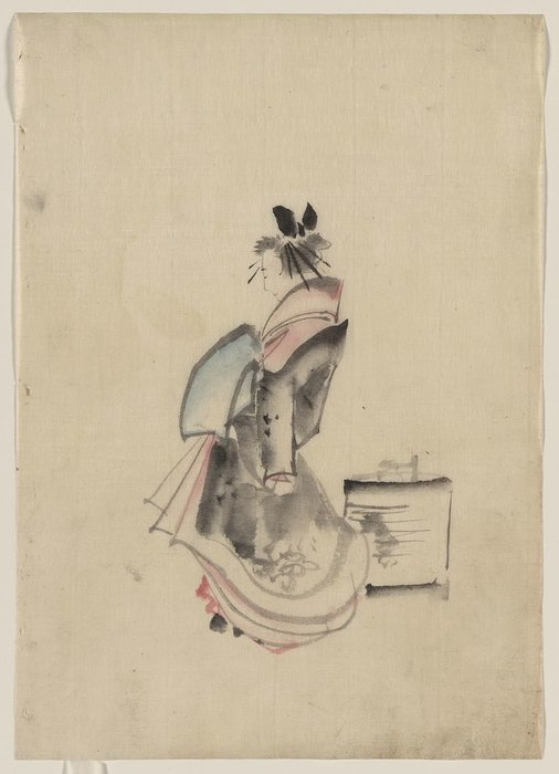 Order Museum Quality Reproductions : A Woman, Possibly A Courtesan, Full-length, Standing, Facing Left by Katsushika Hokusai (1760-1849, Japan) | WahooArt.com