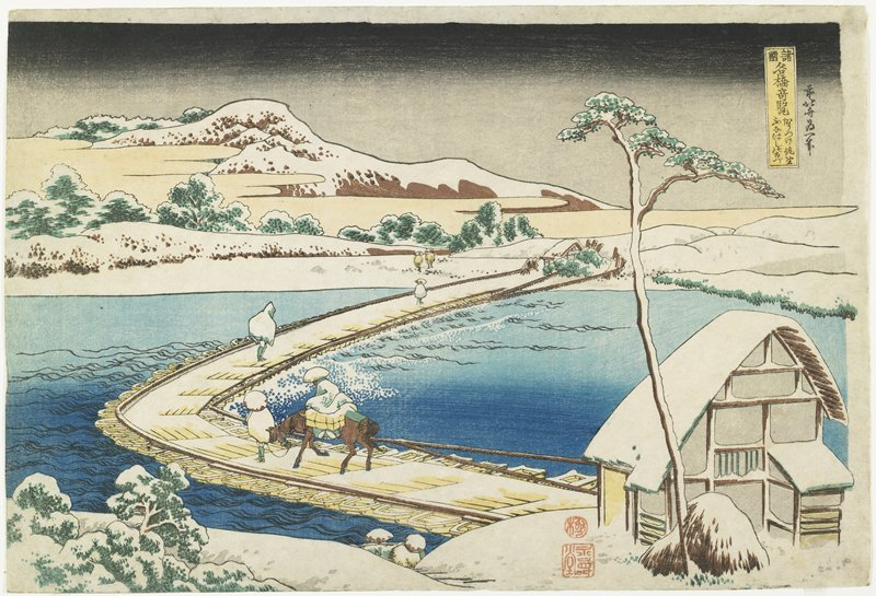An Ancient View Of The Pontoon Bridge At Sano by Katsushika Hokusai (1760-1849, Japan)