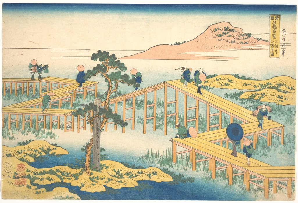 Ancient View Of Yatsuhashi In Mikawa Province by Katsushika Hokusai (1760-1849, Japan)