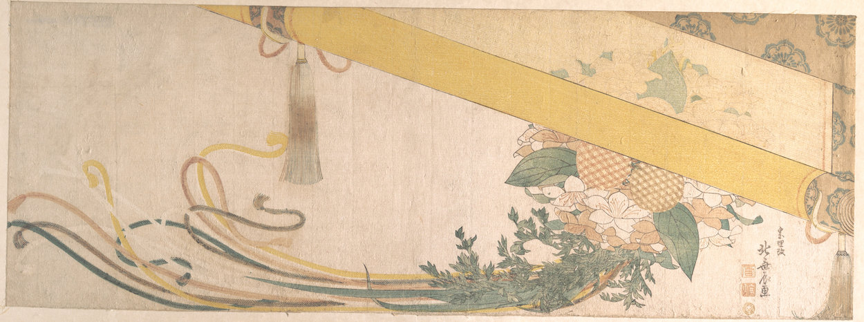 Basket Of Flowers With Bamboo Blind by Katsushika Hokusai (1760-1849, Japan)