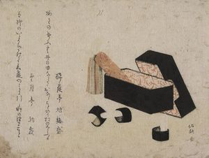 Order Museum Quality Reproductions : Black Lacquer Box With Koto Strikers by Katsushika Hokusai (1760-1849, Japan) | WahooArt.com