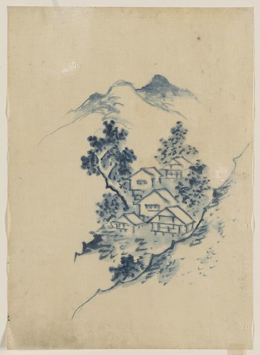 Buildings Nestled Among Trees In A Mountain Valley by Katsushika Hokusai (1760-1849, Japan)