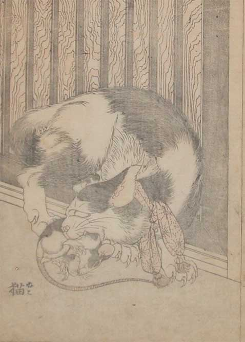Cat And Mouse by Katsushika Hokusai (1760-1849, Japan)