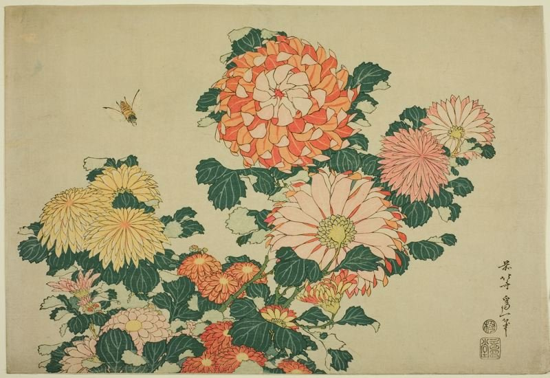 Chrysanthemums And Bee by Katsushika Hokusai (1760-1849, Japan)