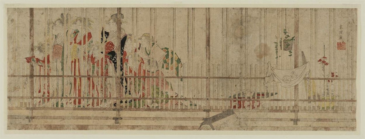 Courtesans Standing At A Lattice Window by Katsushika Hokusai (1760-1849, Japan)