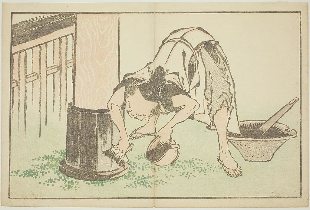 Craftsman Working On Temple by Katsushika Hokusai (1760-1849, Japan)
