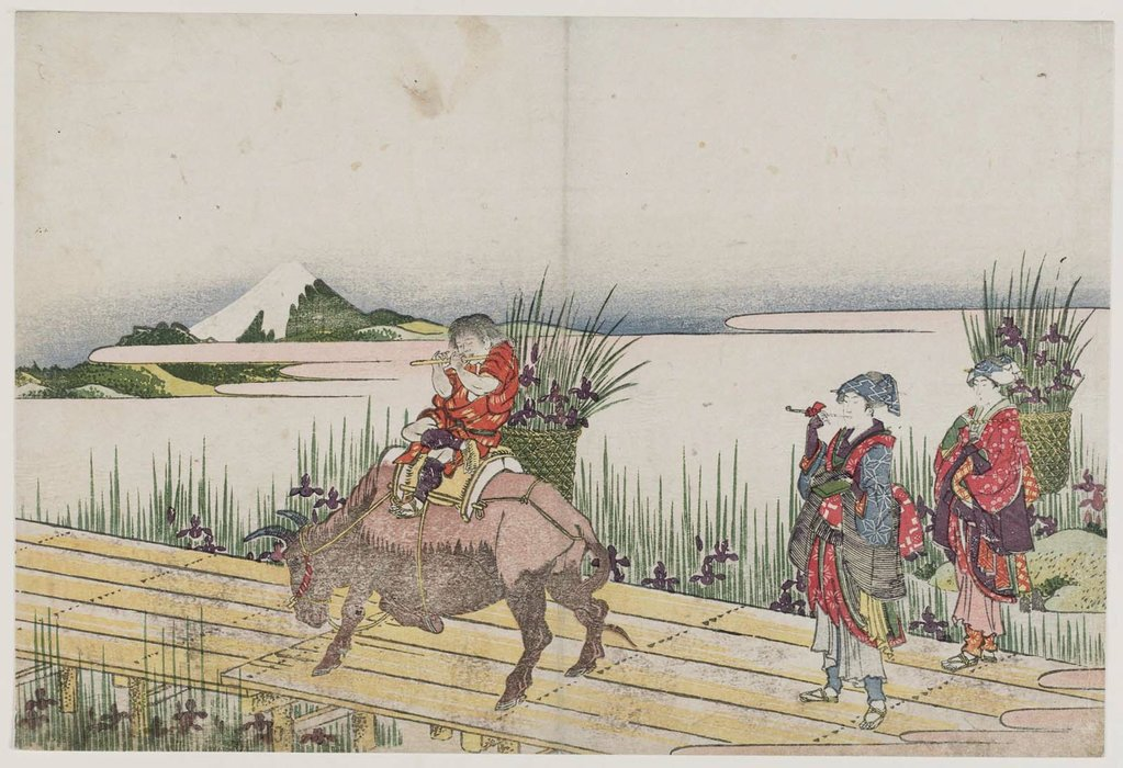 Crossing A Bridge With Iris by Katsushika Hokusai (1760-1849, Japan)