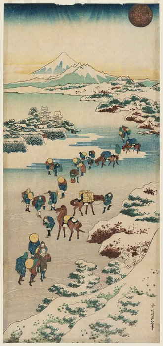 Crossing The Ice On Lake Suwa In Shinano Province by Katsushika Hokusai (1760-1849, Japan)