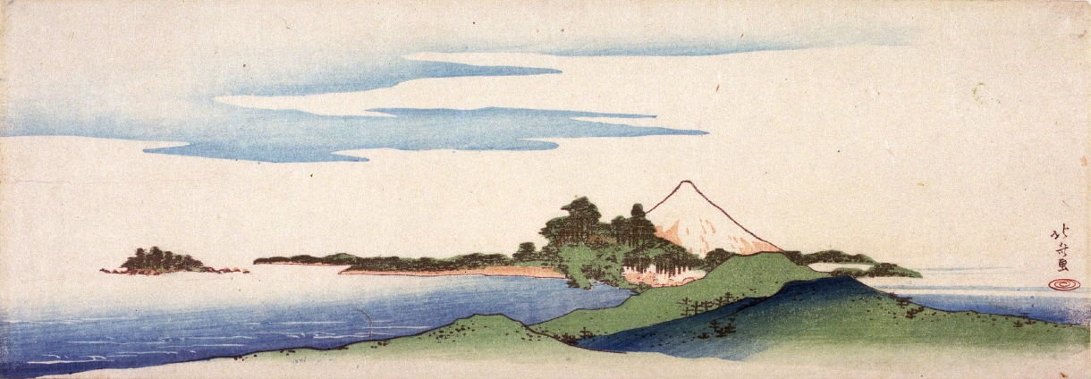 Distant View Of Enoshima And Mt. Fuji by Katsushika Hokusai (1760-1849, Japan)