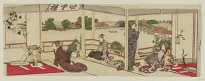 Katsushika Hokusai - Exhibition Of Flower Arrangements In A Room Overlooking The Sumida River