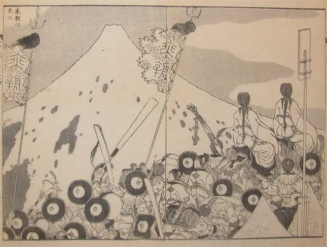Fuji And A Visiting Foreign Embassy by Katsushika Hokusai (1760-1849, Japan)