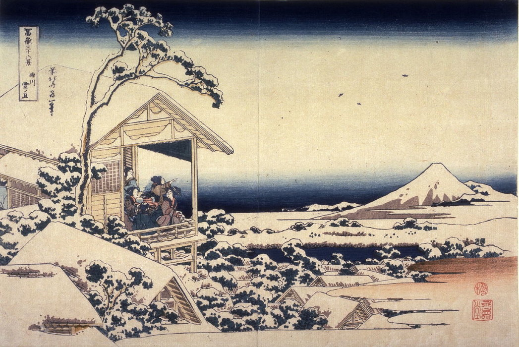 Fuji On A Snowy Morning From Koishikawa by Katsushika Hokusai (1760-1849, Japan)