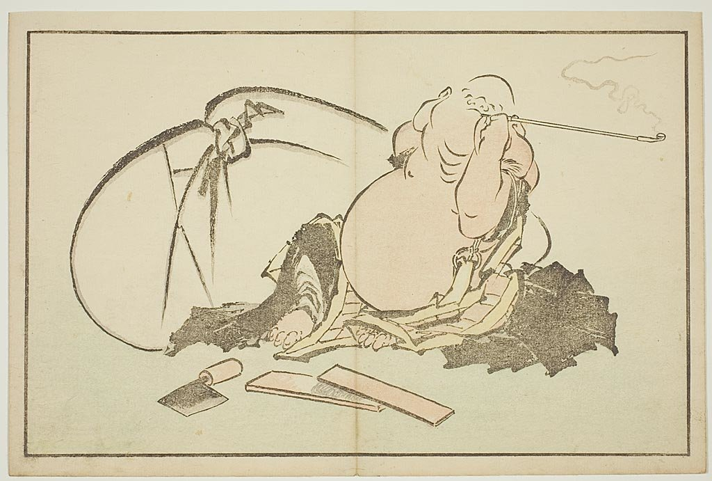 Hotei Smoking His Pipe by Katsushika Hokusai (1760-1849, Japan)