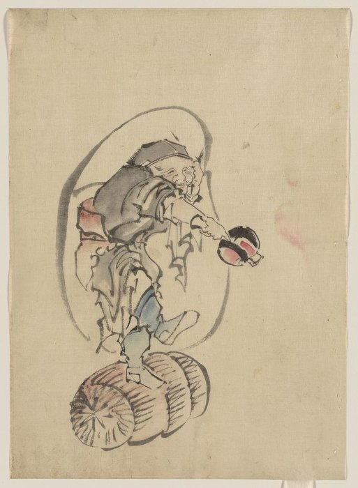 Hotei, The God Of Good Fortune, One Of The Seven Lucky Gods by Katsushika Hokusai (1760-1849, Japan)