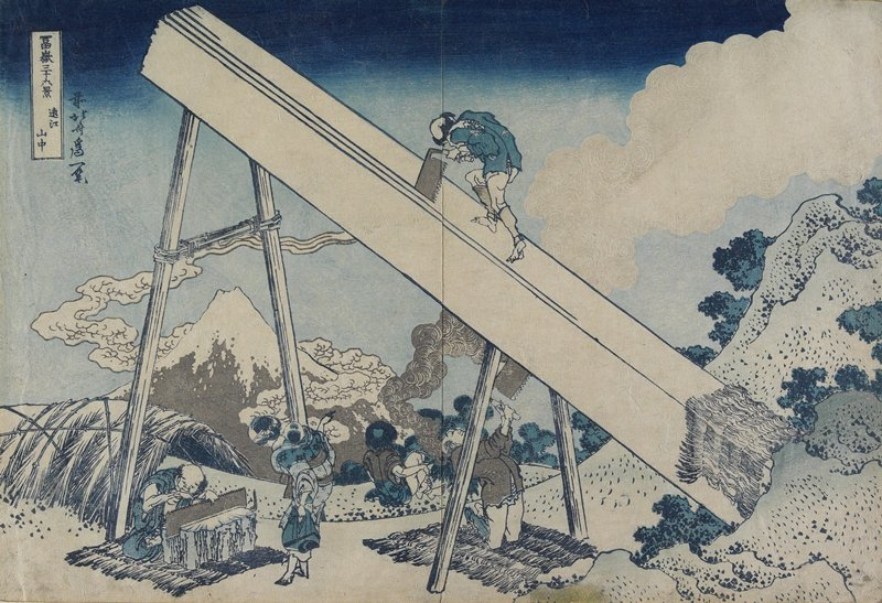 In A Mountain Of Totomi Province by Katsushika Hokusai (1760-1849, Japan)