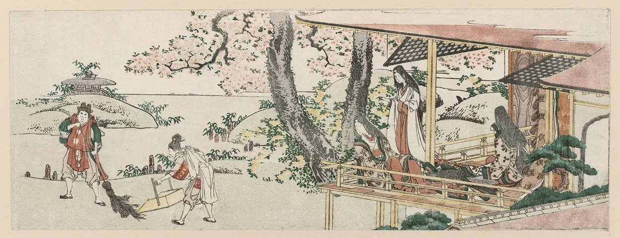 Ladies On The Veranda Of A Nobleman's House Watching by Katsushika Hokusai (1760-1849, Japan)