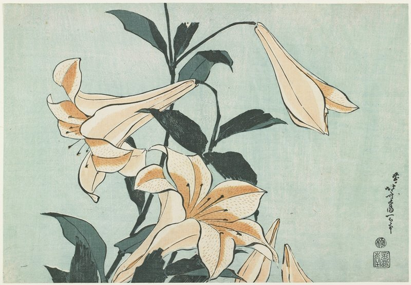 Lilies by Katsushika Hokusai (1760-1849, Japan) | Oil Painting | WahooArt.com