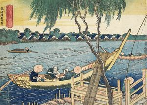 Katsushika Hokusai - Long-line Fishing On The Miyato River