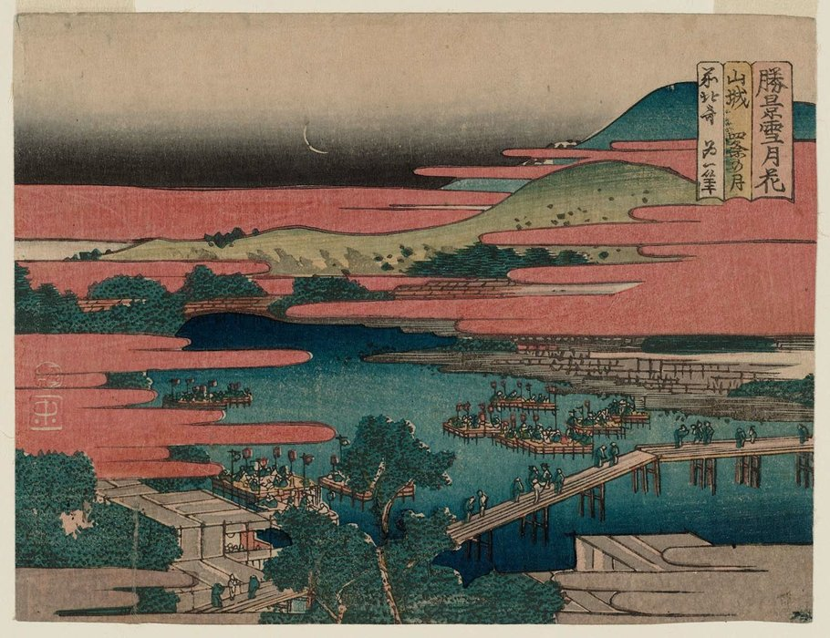Moon At Shijô In Yamashiro Province by Katsushika Hokusai (1760-1849, Japan)