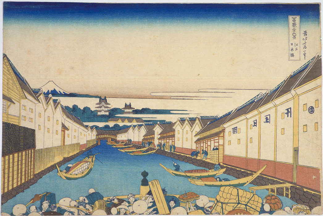 Nihombashi Bridge In Edo by Katsushika Hokusai (1760-1849, Japan)