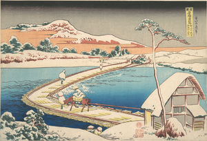 Katsushika Hokusai - Old View Of The Boat-bridge At Sano In Kôzuke Province