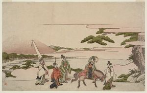 Katsushika Hokusai - Parody Of Narihira's Journey To The East
