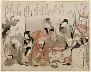Katsushika Hokusai - Party Charades Of The Seven Gods Of Good Fortune