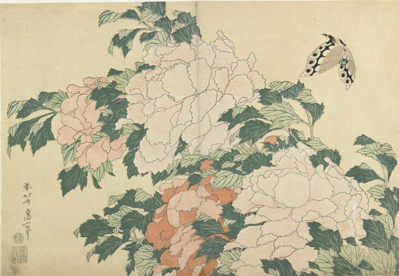 Peonies And Butterfly by Katsushika Hokusai (1760-1849, Japan)