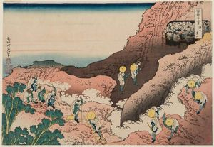Katsushika Hokusai - People Climbing The Mountain