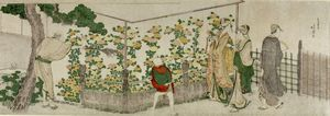 Katsushika Hokusai - People Viewing Chrysanthemum Exhibit