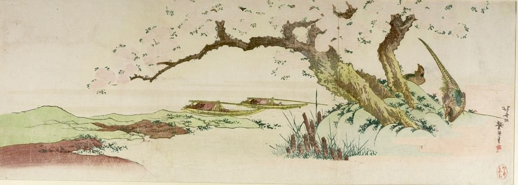 Pheasants Under Cherry Tree by Katsushika Hokusai (1760-1849, Japan)
