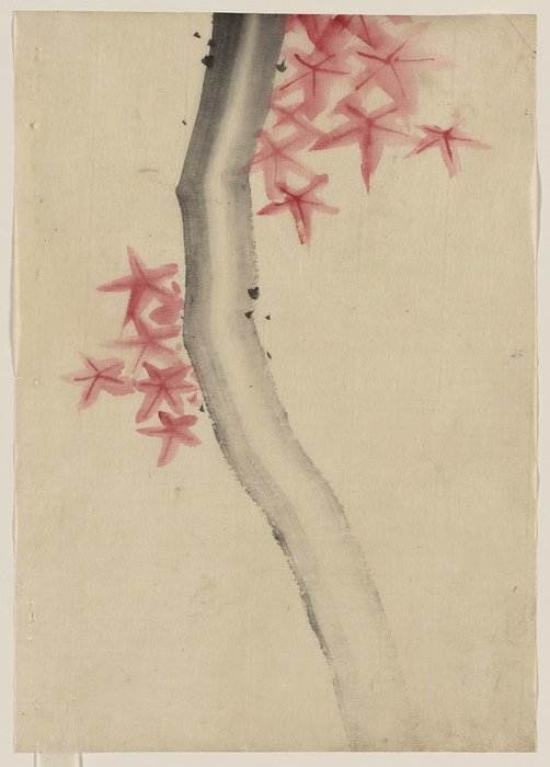 Possibly A Tree Branch With Red Star-shaped Leaves Or Blossoms by Katsushika Hokusai (1760-1849, Japan)