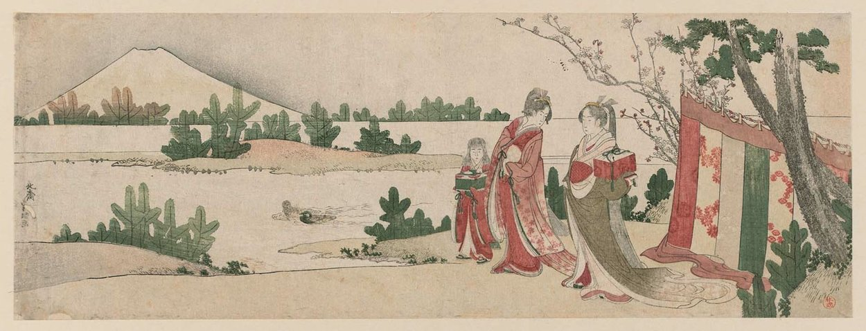 Preparing For A Picnic In Early Spring by Katsushika Hokusai (1760-1849, Japan) | Museum Quality Reproductions | WahooArt.com