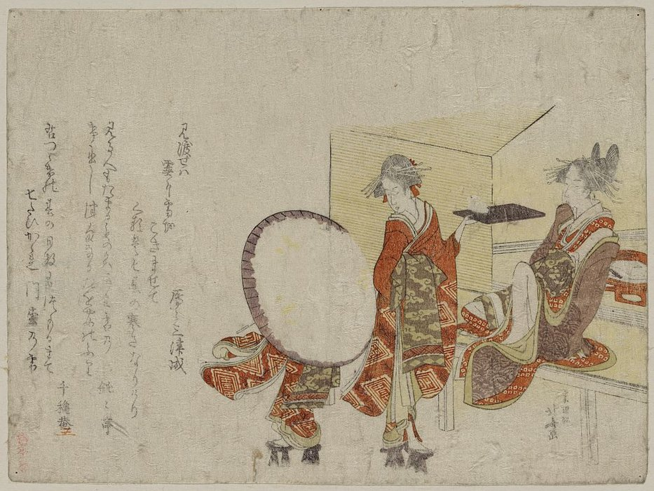 Presenting A Snow Bunny On A Tray In Front Of A Tea Shop by Katsushika Hokusai (1760-1849, Japan) | Art Reproduction | WahooArt.com